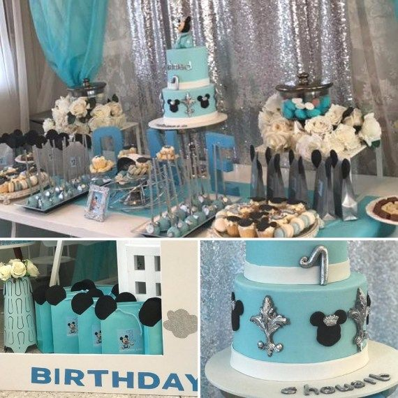 Sky Blue And Silver Baby Mickey Mouse First Birthday Mickey