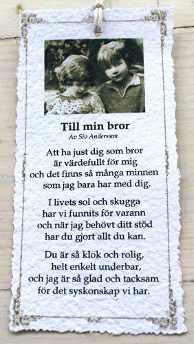 """Diktkort """"Till min bror"""""""