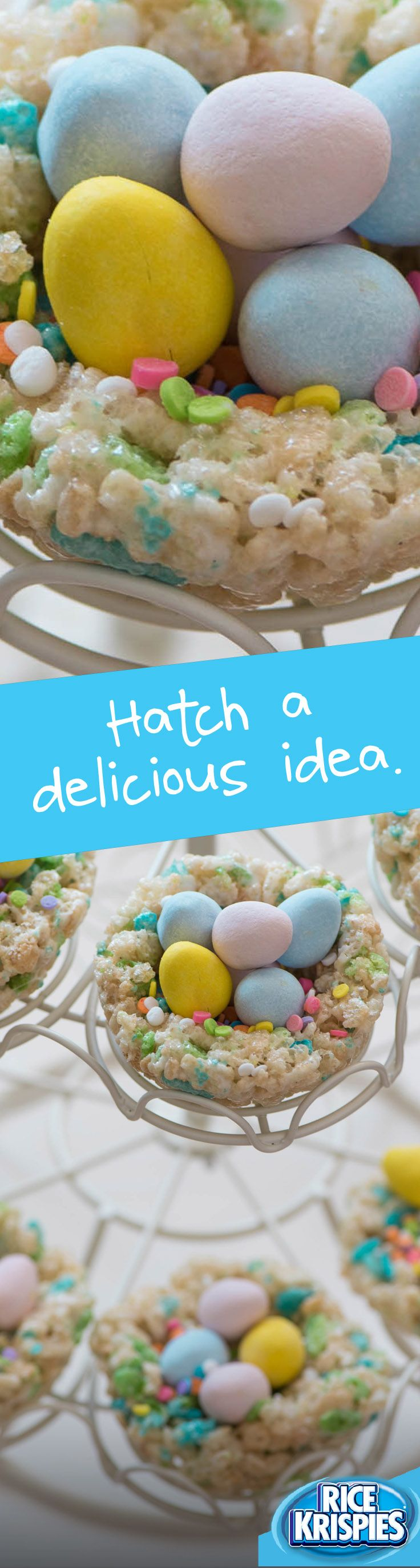 What better place to nestle chocolate eggs than an equally delicious nest? Made with Rice Krispies® Spring Edition cereal, these nests have sprinkles of sweet colour.