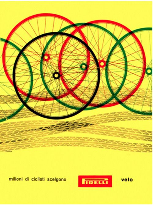 """Bob Noorda Illustration  """"Millions of cyclists choose Pirelli tires"""". From Graphis Annual, 1959/60."""