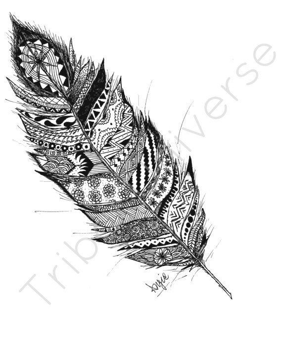 Taking Flight  Pen and Ink Drawing by TribalUniverse on Etsy, $14.00