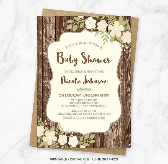 Rustic Baby Shower Invitation Rustic Invitation Gender