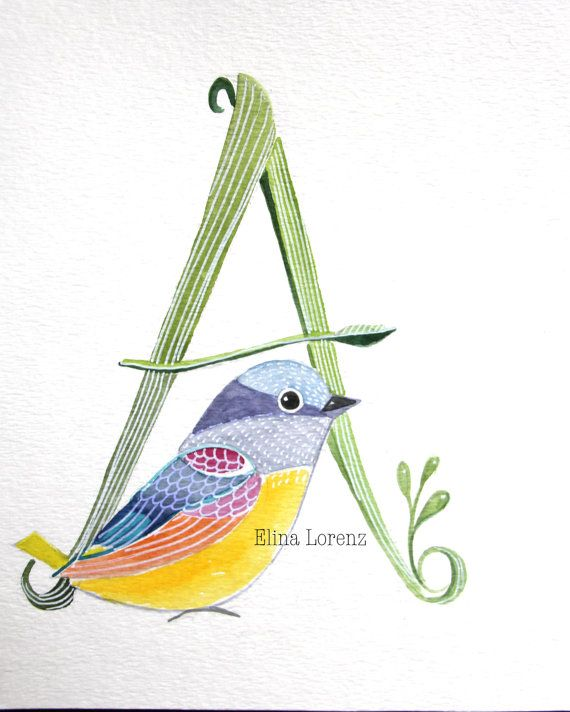 bird art monogram letter a personalize your bird painting original watercolor wall