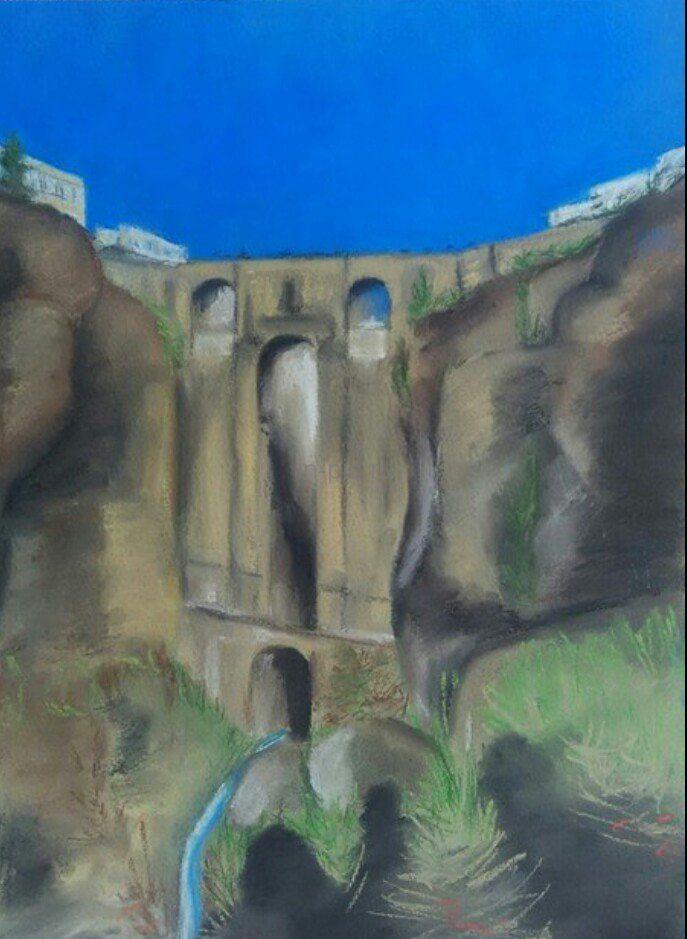 Нина Веселова, 2013 | Бумага, пастель, 30 х 40 см, стекло, +багет | Испания, горный пейзаж, мост, импрессионизм