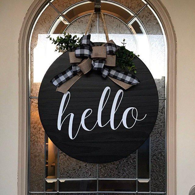 Door Hanger Hello Sign Front Door Decor Wood Door Sign Front Door Sign Year Round Wreath Wreath Door Decor In 2020 Welcome Signs Front Door Front Door Decor Christmas Front Doors