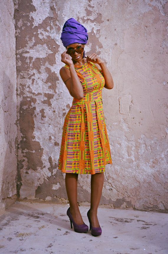 Multicolor African Kente Tribal Print  Dress