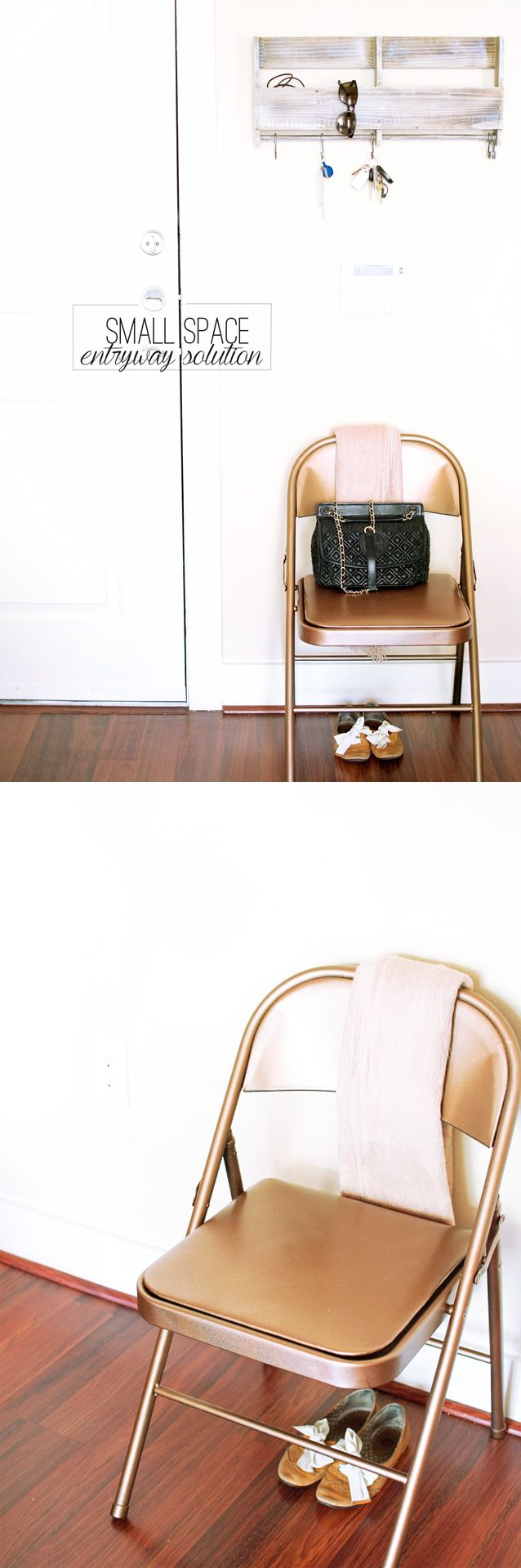 .. have an old folding chair? -- metallic it and pad the seat with wonderful fabric!  ....  Small-Space-Entryway-Solution-Minimalist