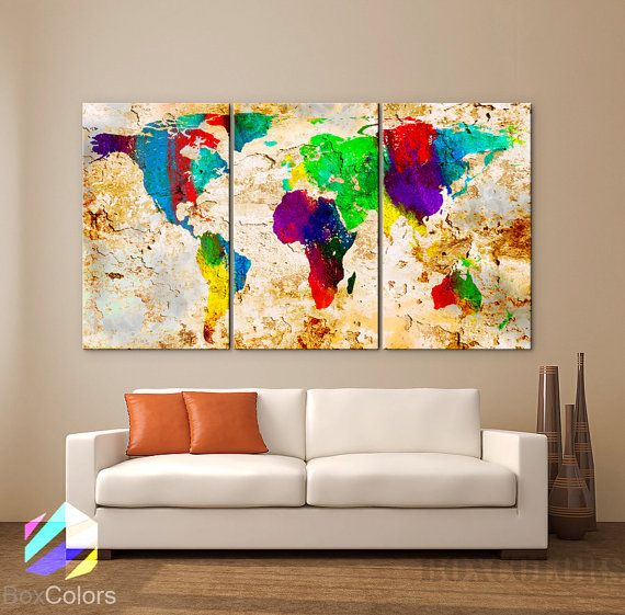 GROTE 30 x 60 3 panelen Art Canvas Print wereld kaart door BoxColors