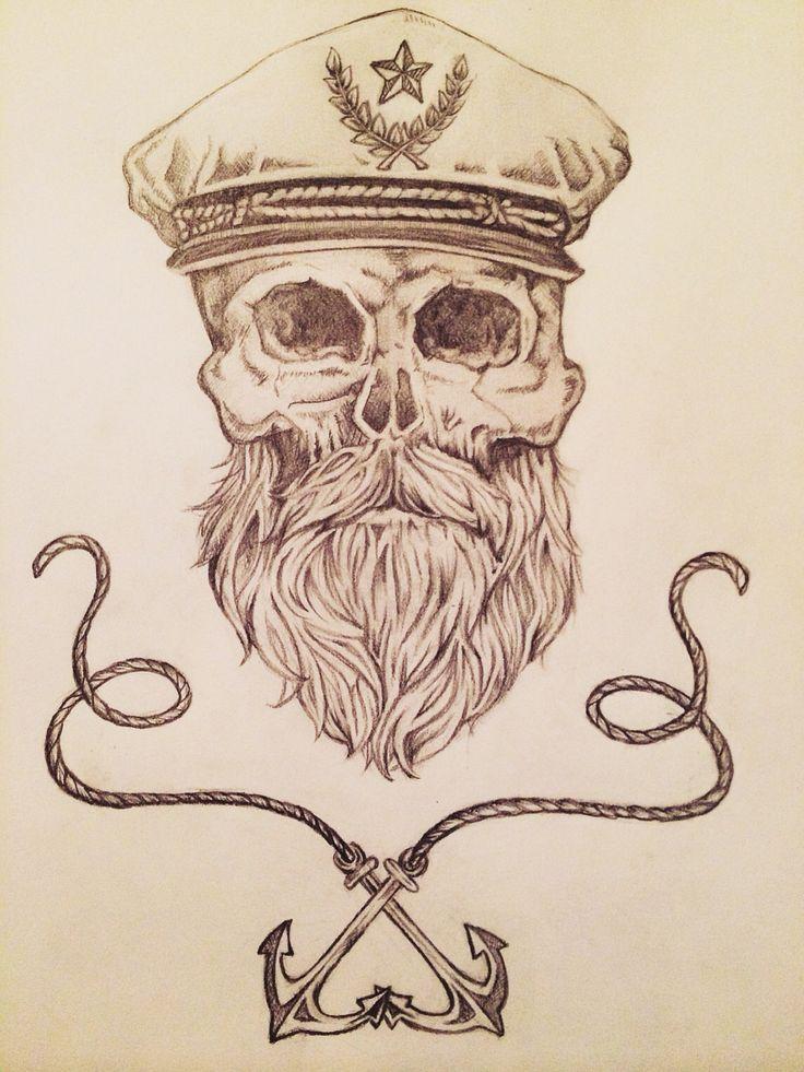 Caveira âncora barba vintage skull