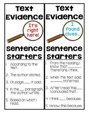 FREE text evidence bookmarks that list five helpful sentence starters!