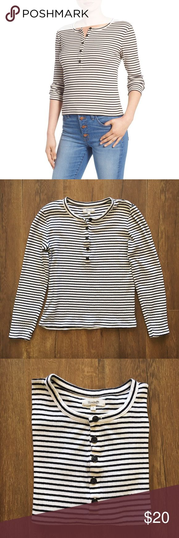 Stripped Henley Top from Madewell White & Black Striped Henley Tee From Madewell. Size M | Cotton. Super soft and versatile and CUTE! Discount off bundles ;) Madewell Tops Tees - Long Sleeve