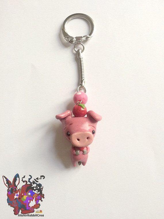 Porte clé Lovely Pig par MisterRabbitcrea sur Etsy