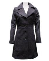 Ladies Charcoal 4 Button Long Pea Coat Wool Blend