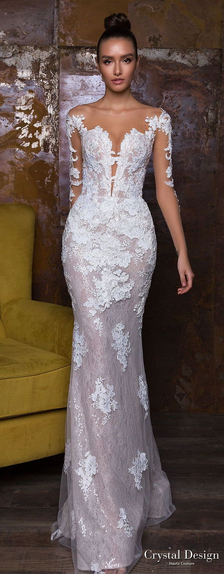crystal design 2018 long sleeves sheer bateau sweetheart neckline full embellishment peplum princess sheath wedding dress sheer button royal train (nika) lv -- Crystal Design 2018 Wedding Dresses #weddinggowns