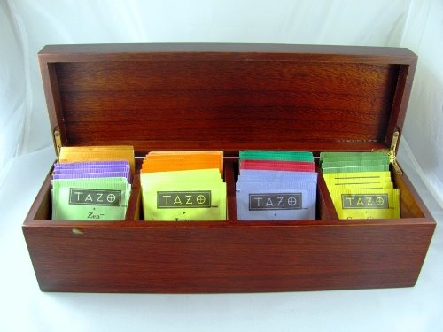 Fine Exotic Wood Tea Box Sampler with 44 TAZO Teabags in 11 Flavors , Hinged Paulownia Hardwood Tea Chest (Made of solid w...