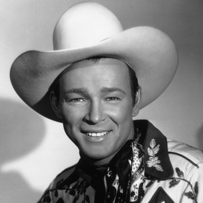 Roy Rogers, born Leonard Franklin Slye in Cincinnati, Ohio (11/5/1911 – 7/6/1998), was an American singer and cowboy actor, one of the most heavily marketed and merchandised stars of his era, as well as being the namesake of the Roy Rogers Restaurants franchised chain. He and his wife Dale Evans, his golden palomino, Trigger, and his German Shepherd dog, Bullet, were featured in more than 100 movies and The Roy Rogers Show.