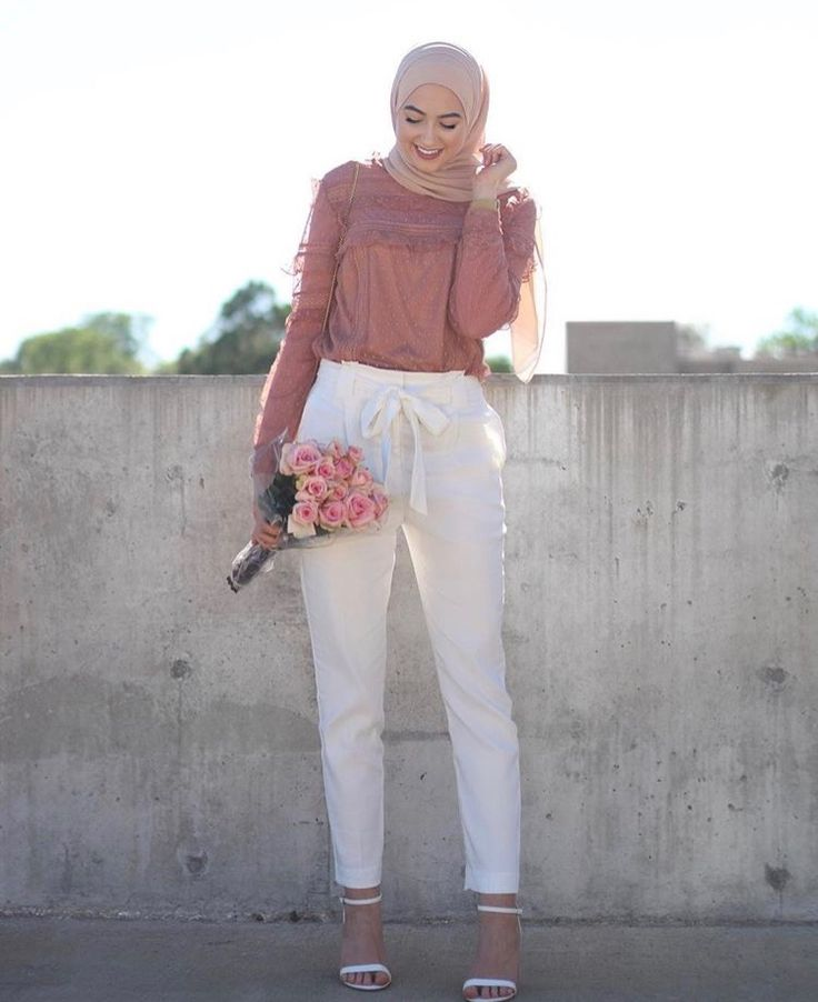 Hijab + White Tie Front Pants (withloveleena)