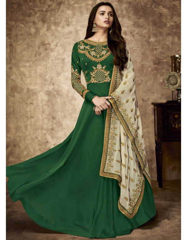 8c869fbc60 Bottle Green Satin Georgette Suit with Embroidered Dupatta in 2019 ...