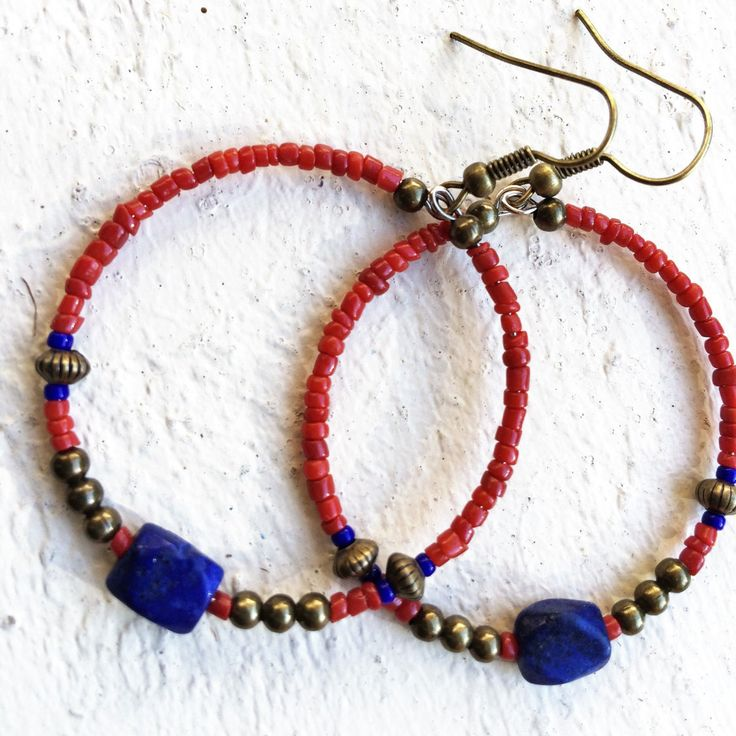 beaded boho hoop dangle earrings with brass and lapis lazuli beads by Urockitjewels on Etsy