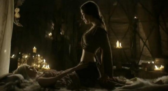 Emilia Clarke and Roxanne McKee had to film some slightly racy lesbian love scenes for season one of Game of Thrones.