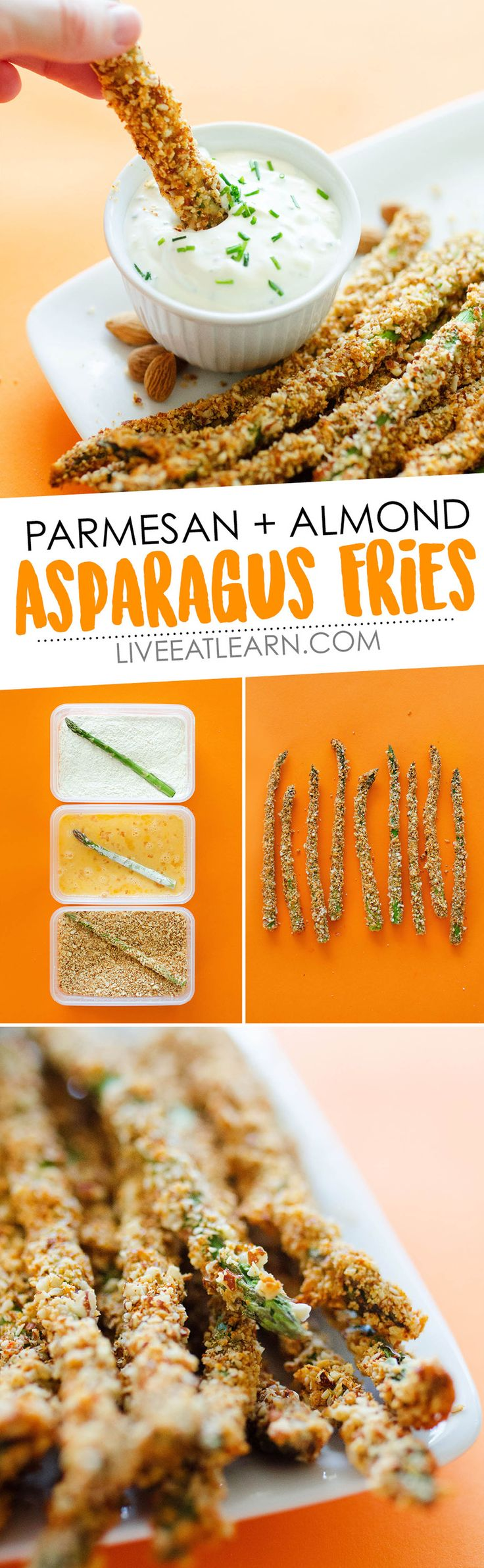 This Parmesan and Almond Baked Asparagus Fries recipe is a low carb, way delicious way to spruce up your healthy side dish tonight, and in under 30 minutes! It's a high protein vegetable side dish that's also gluten-free, and with a chive yogurt sauce is sure to be a hit at your family dinner table tonight. // Live Eat Learn