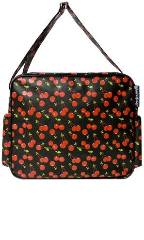 Cherries vinyl nappy bag with matching change mat. Made by Sourpuss