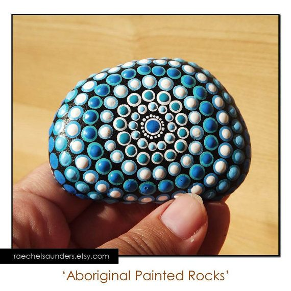 Painted Stone, Aboriginal Dot Art, Painted rock, Acrylic Painting, blue decor, ornament or paper weight