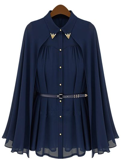 Navy Metal Tip Collar Detachable Cape Chiffon Belt Blouse US$34.10