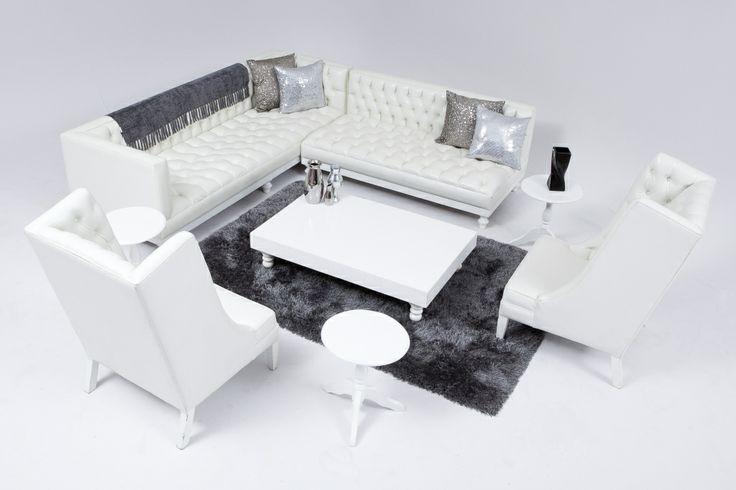 White Deep Button Lounge