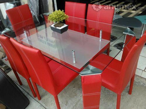 mesas de comedor cristal modernas en rojo - Buscar con Google ...