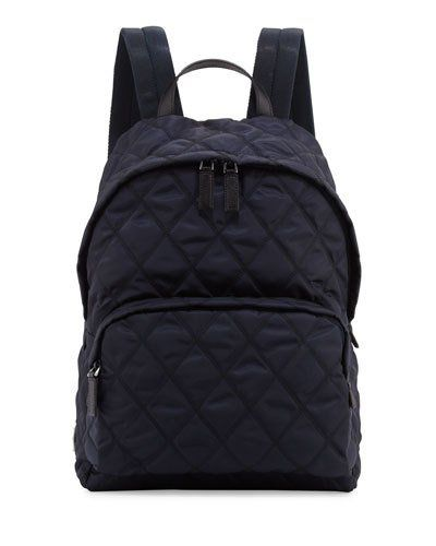 PRADA TESSUTO QUILTED BACKPACK, NAVY. #prada #bags #leather #lining #nylon #backpacks #