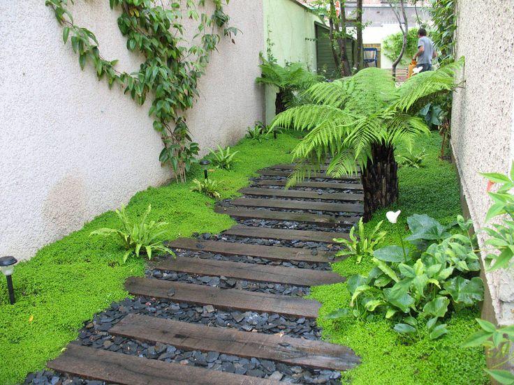 Ambiance tropicale avec ses fougères arborescentes , ses mousses et son chemin aménagé de traverses de chemin de fer et pétales d'ardoise