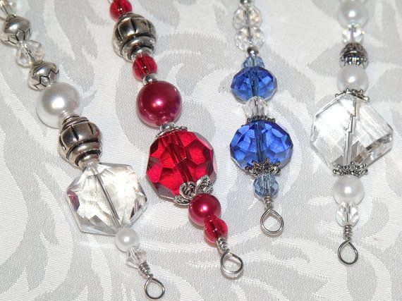 Red White and Blue Christmas Ornaments - hand made in America bead icicles