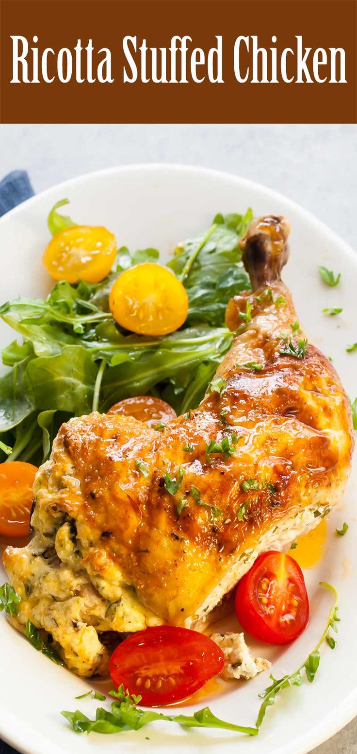 Ricotta Stuffed Chicken ~ Butterflied chicken stuffed with ricotta, Parmesan and herbs, then grilled or baked. ~ SimplyRecipes.com