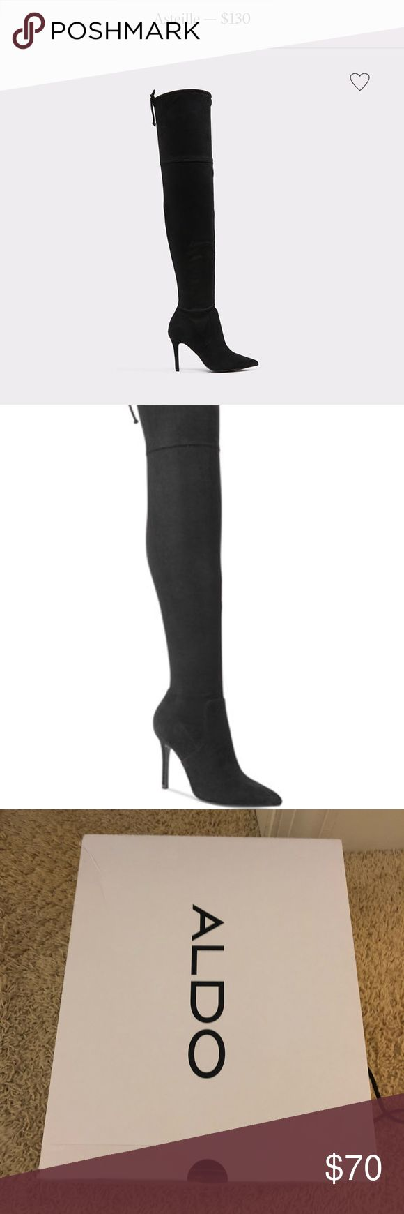 Aldo Asteille over the knee boots Also over the knee boots. Size us 8. Worn once. Almost like new.  Will try to ship in the box if I can find a shipping box big enough. Aldo Shoes Over the Knee Boots