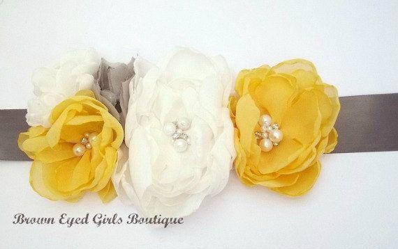 Gray Hot Pink & Ivory Wedding Sash Bridal by browneyedgirlsboutiq, $75.00