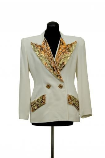 Original 1980s jacket - Criscione New York Collection. White/gold, double-breasted closure with decorative buttons and sequins on the lapels