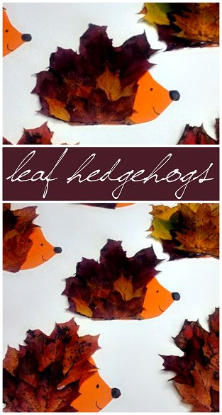 Make a Hedgehog Craft Using Leaves #Fall Craft for kids to make! #Leaf art project | CraftyMorning.com