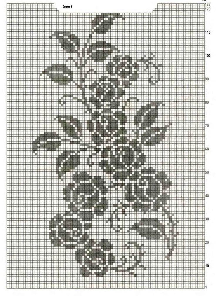Вязание крючком филейные узоры схемы рисунок бутоны маленькие розы, день рождения своими