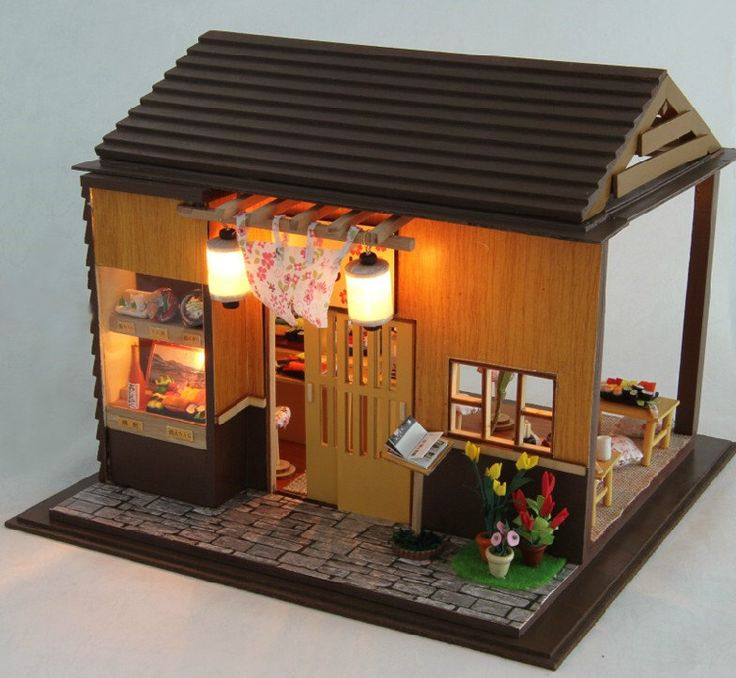 Miniature Dollhouse DIY Kit Sakura Sushi Shop with Light and Music Box Cute Room House Model by Craftismo on Etsy https://www.etsy.com/listing/209707917/miniature-dollhouse-diy-kit-sakura-sushi
