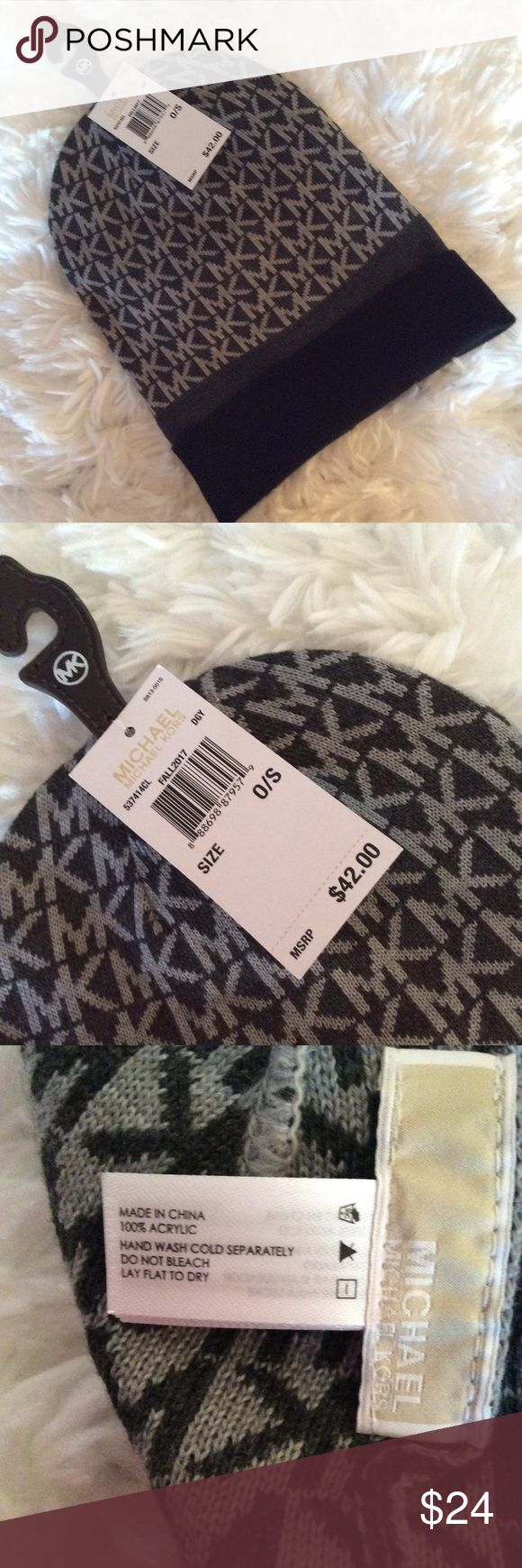 Michael Kors  women's logo hat/beanie.  NWT. Winter hat/beanie.  MK logo around entire hat.  Gray and black.  New.  Hat can be folded to preferred length. MICHAEL Michael Kors Accessories Hats