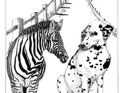 """Compatible friends"" illustration -Gallery Quality Giclée Fine Art Print"