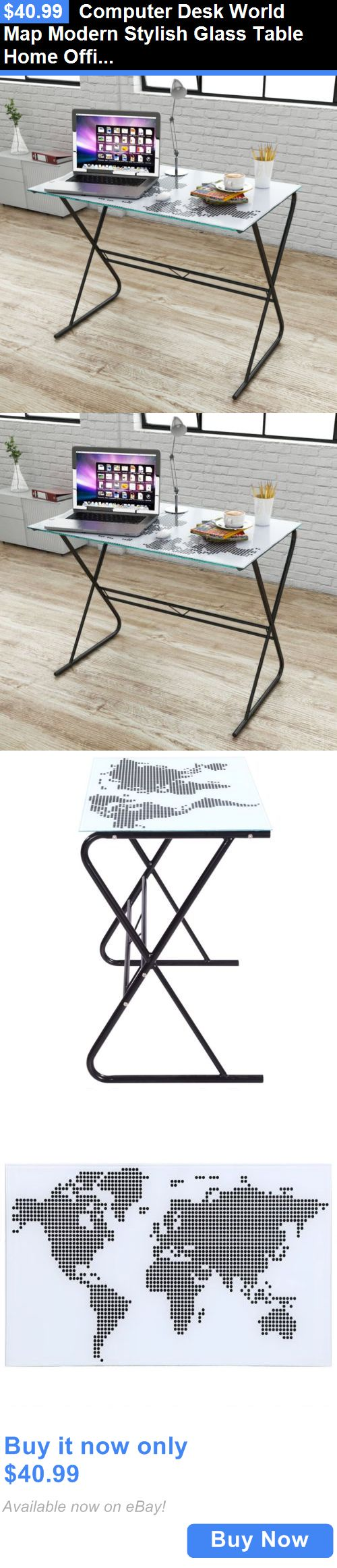 Office Furniture: Computer Desk World Map Modern Stylish Glass Table Home Office Study Furniture BUY IT NOW ONLY: $40.99