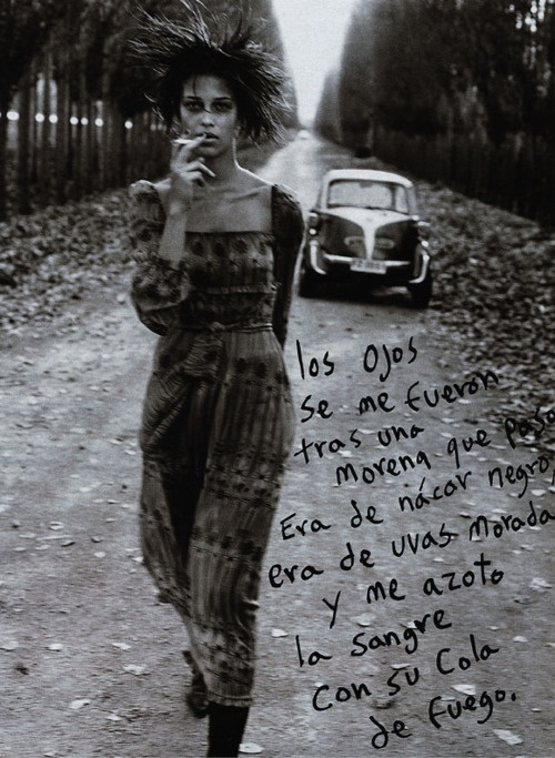 The Pablo Neruda Series    Ana Beatriz Barros by Ruven Afanador | awesome black & white photography | fashion editorial | translation | smoking | beauty | walk | deserted | vintage car | autumn leaves falling on a lonely road