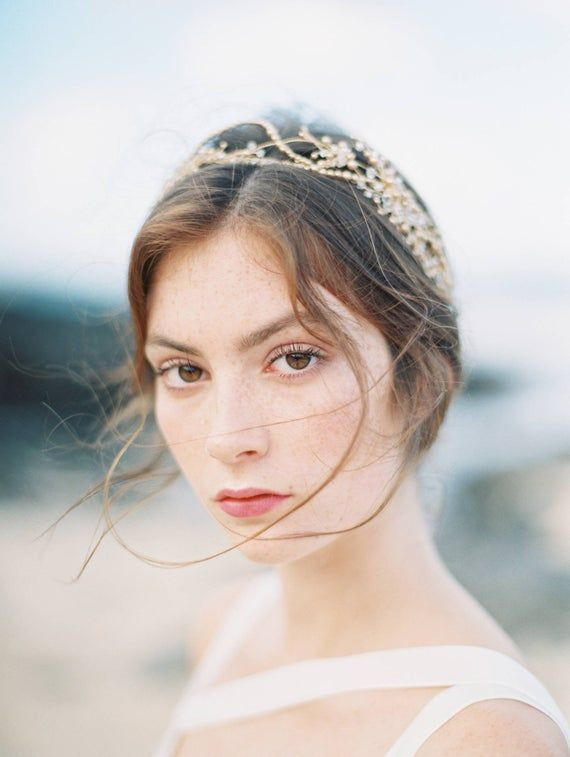 gold bridal crown, gold headpiece, gold crown, gold wedding crown, gold headband, gold bridal hair accessories, gold tiara – AMIRA