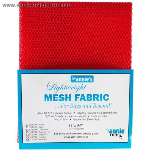 """Mesh+Fabric+Light+Weight+18""""+X+54""""+(46cm+x+137cm)+-+Atom+Red+from+by+Annie+-+Light+weightmesh+netting+fabricwith+a+slight+stretch.  Perfect+for+pockets+on+bags+or+anywhere+you+want+to+be+able+to+see+what+you+are+storing,+the+mesh+also+works+great+in+various+garment+applications+and+utility+needs. To+help+you+sew,+the+mesh+is+specially+coated+to+be+less+slippery+and+easy+to+work+with,+while+still+being+soft+and+pliable. Finish+the+edges+with+a+simple+binding+using+yo..."""