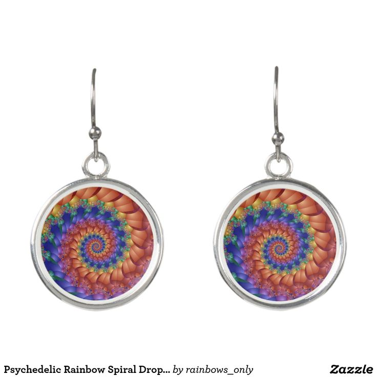 Psychedelic Rainbow Spiral Drop Earrings. Regalos, Gifts. #DiaDeLasMadres #MothersDay