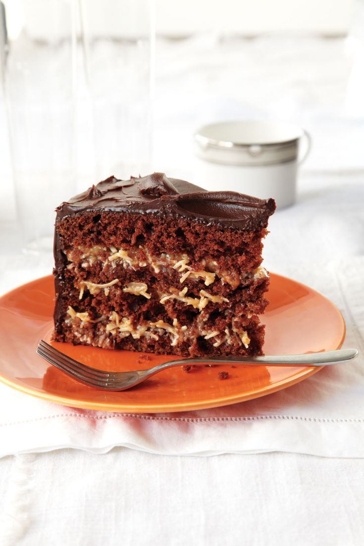 This German chocolate cake – four delicious layers sandwiched together with a super rich pecan-and-coconut filling – is one special cake. The chocolate ganache icing is not traditional but cuts nicely through the cake's sweetness. Photography by Ryan Brook.