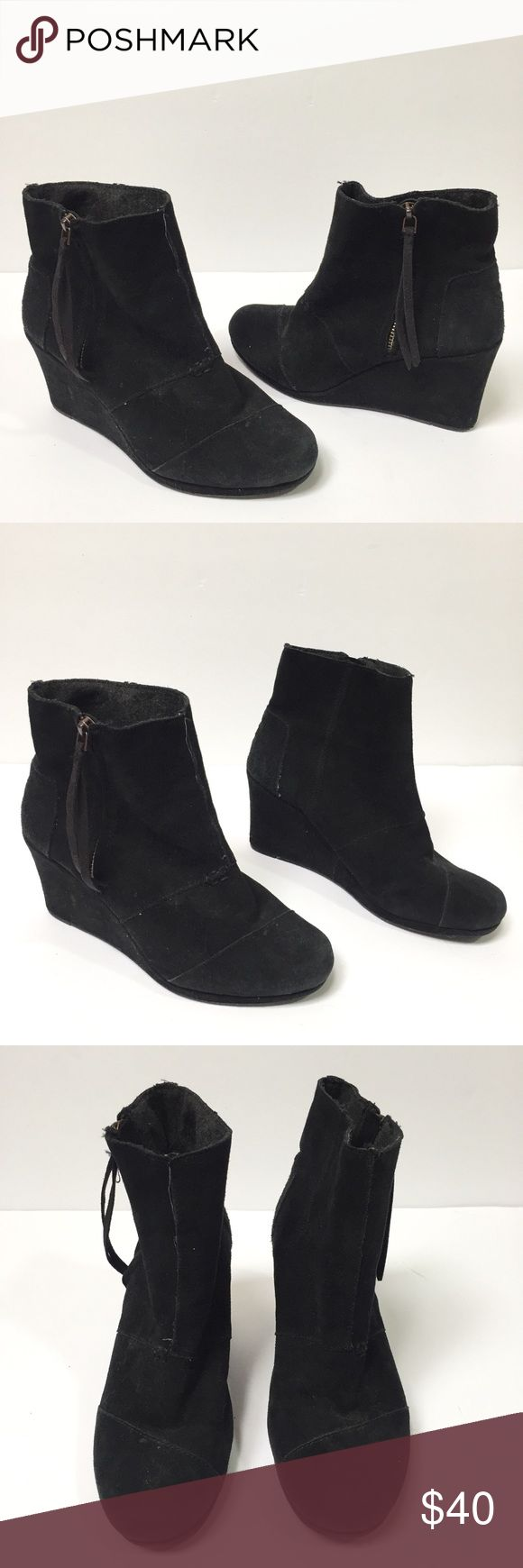 Tom's black desert wedges booties - Size: 7.5 - Material: faux suede - Condition: great - Color: black - Closure: zipper on side  - Style: Tom's black desert wedge booties - Extra notes: Toms Shoes Ankle Boots & Booties