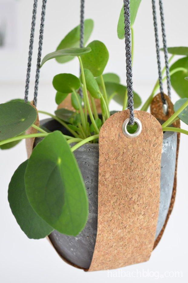 halbachblog I DIY Anleitung I Blumenampel aus Korkstoff nähen I Ösen, Kordel I…